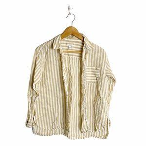 J. Jill Love Linen Striped Button Down Shirt Sz SP